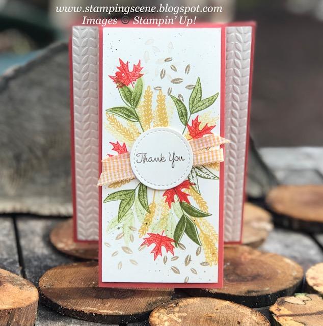 Beautiful Autumn Thank You card using stampin up