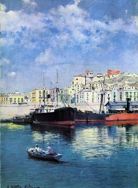 El puerto de Cartagena, Juan Martínez Abades, Pintor español, Paisajes de Juan Martínez Abades, Pintor Martínez Abades, Pintores españoles, Pintores Asturianos, Martínez Abades
