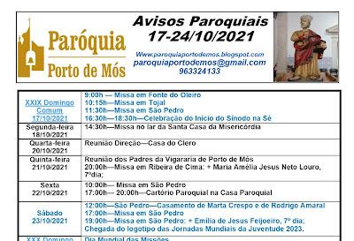 Avisos Paroquiais - 17 a 24 de Outubro de 2021
