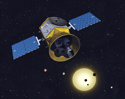 graphic of the TESS probe in space