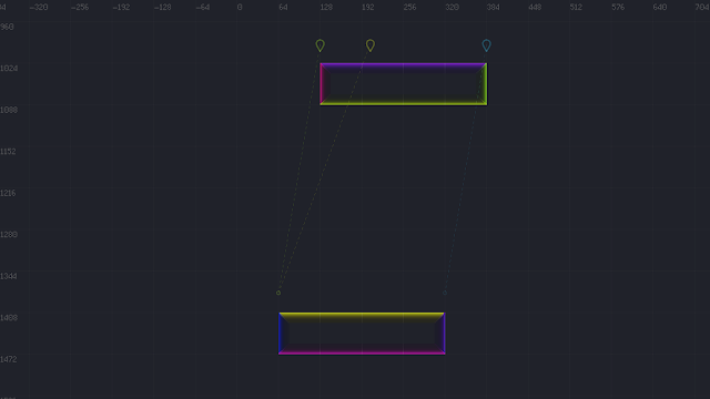 """A screenshot showing some """"good"""" potential jump/land positions between two floor surfaces."""