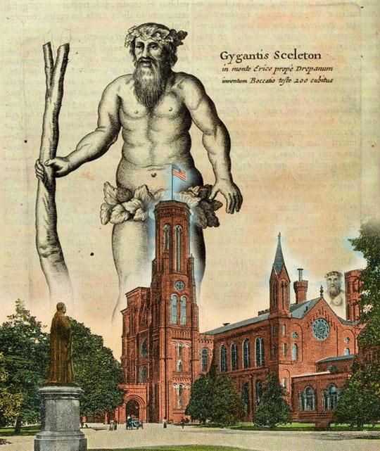 Instituto smithsoniano con dibujo de gigante detrás