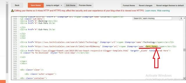 HTML code, html