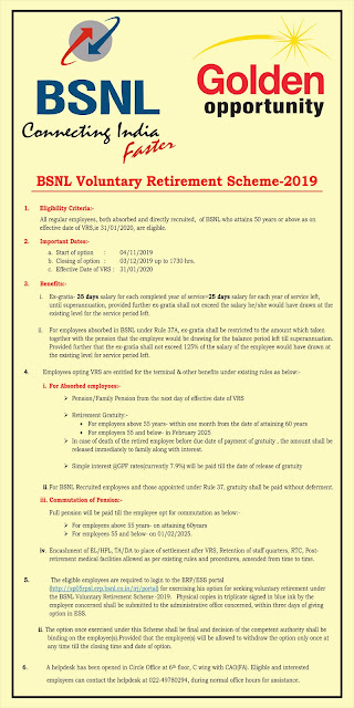 BSNL Voluntary Retirement Scheme 2019