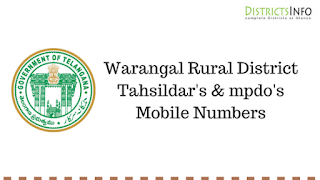 Warangal Rural District Tahsildar's  & mpdo's  Mobile Numbers