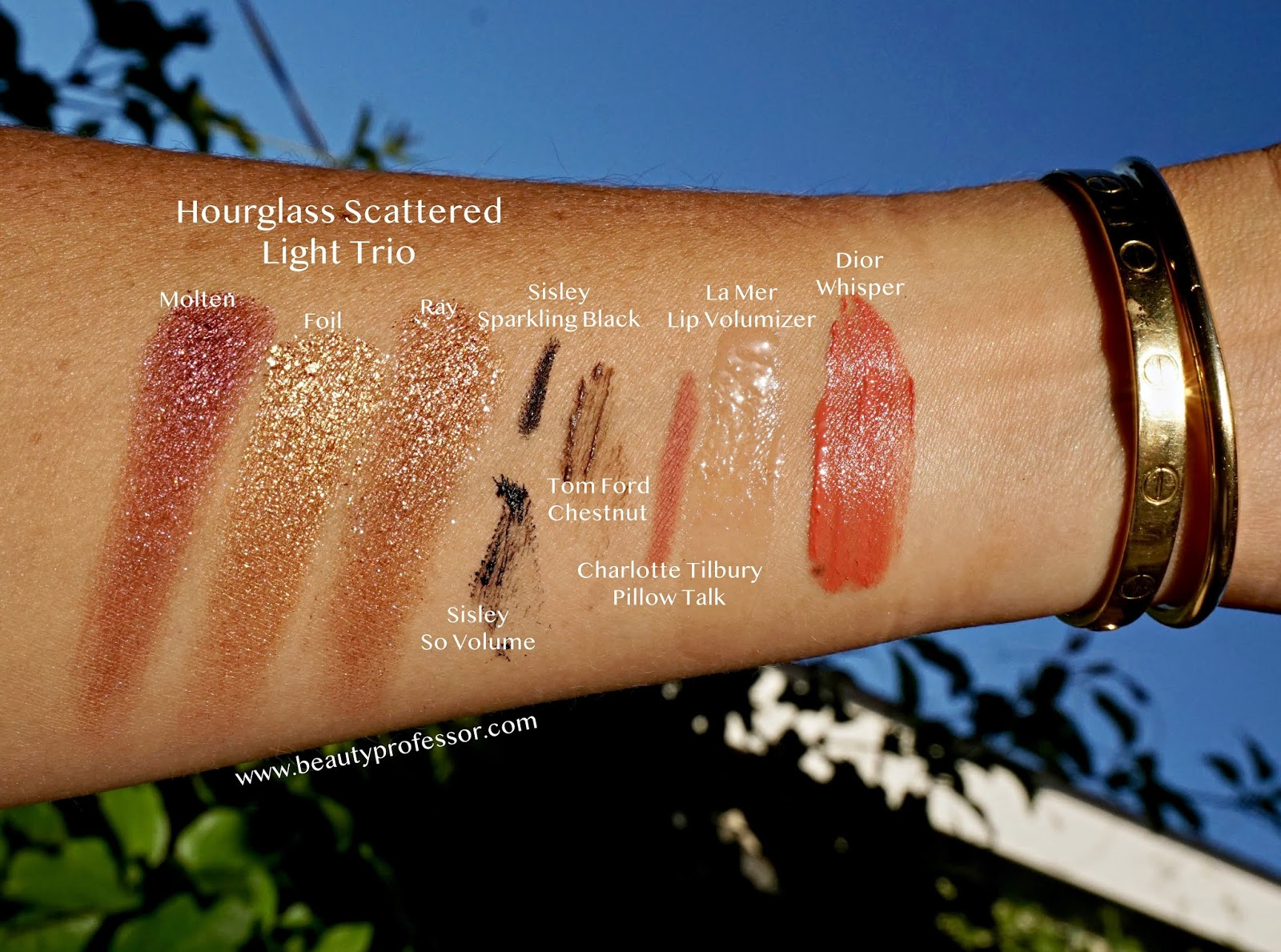Hourglass Travel Size Scattered Light Glitter Eyeshadow Set swatches