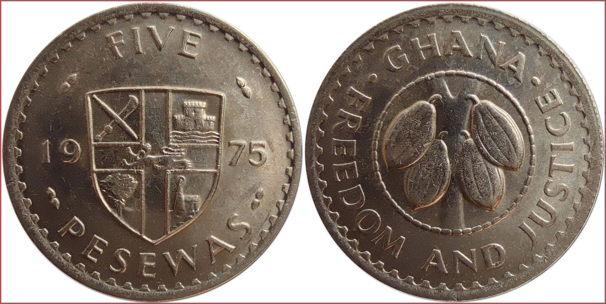 5 pesewa, 1975: Republic of Ghana