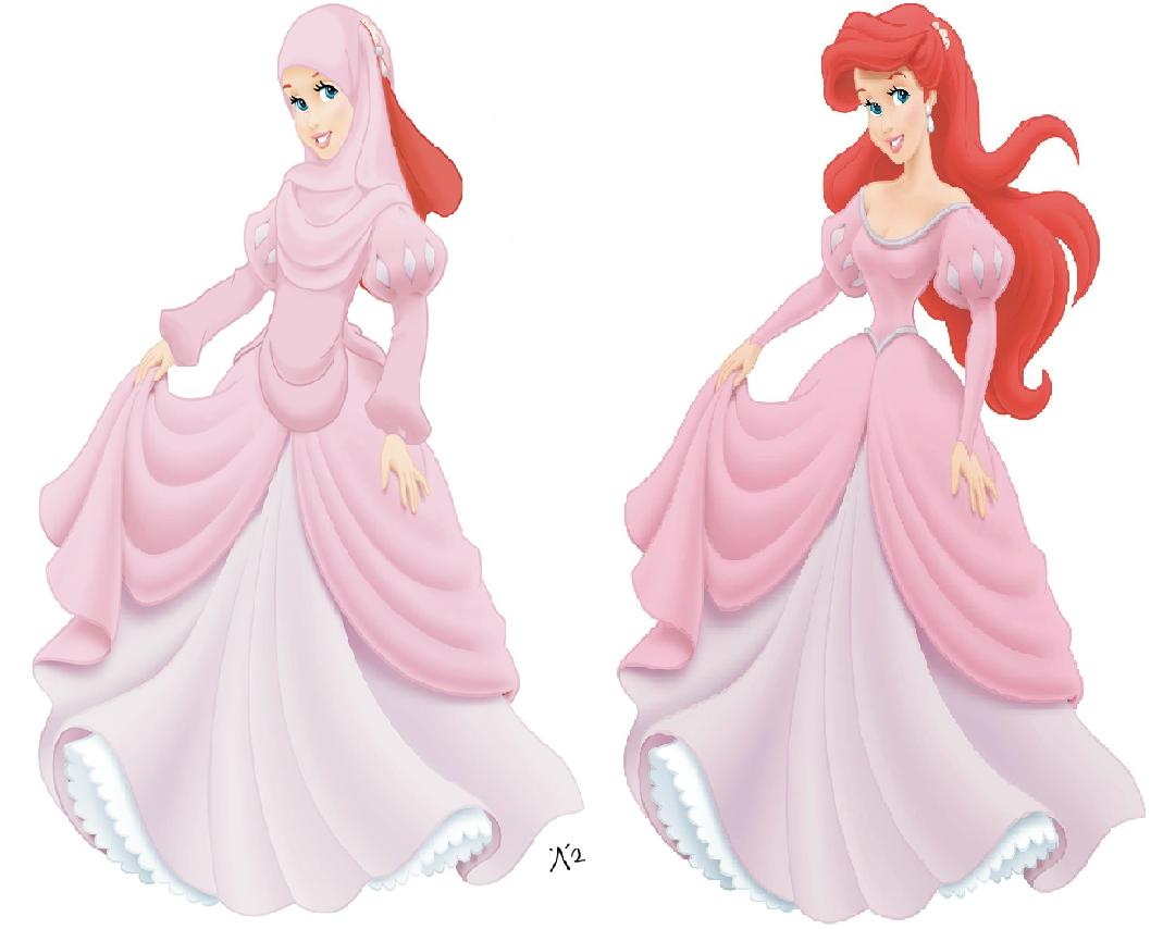 Disney Princess Wearing Hijab Jilbab Voal