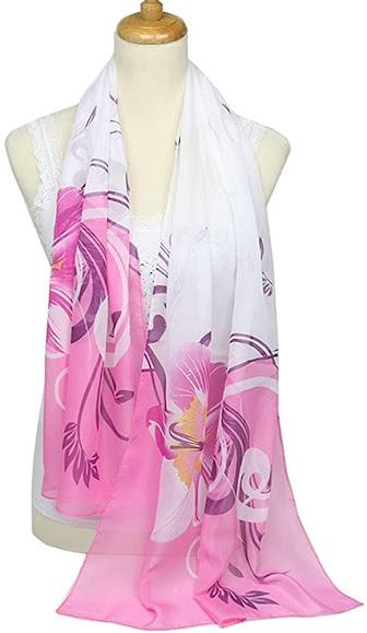 Flower Print Pink Chiffon Scarves Shawls