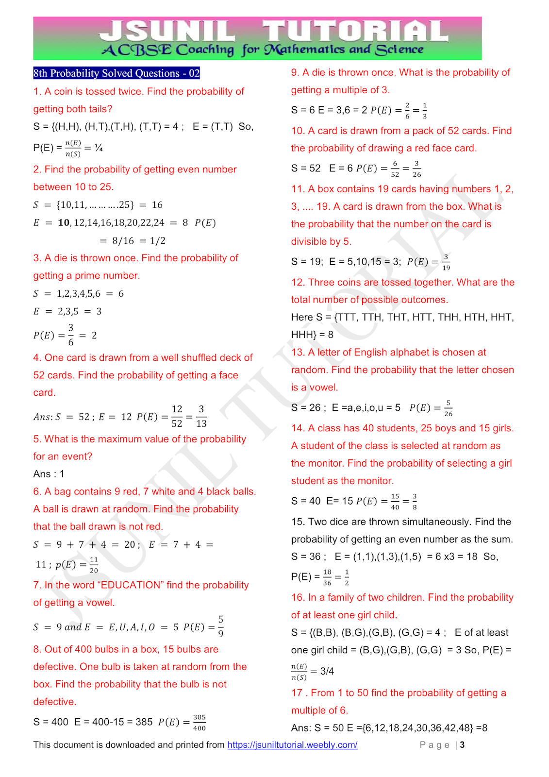 8th Math Probability Cbse Test Paper