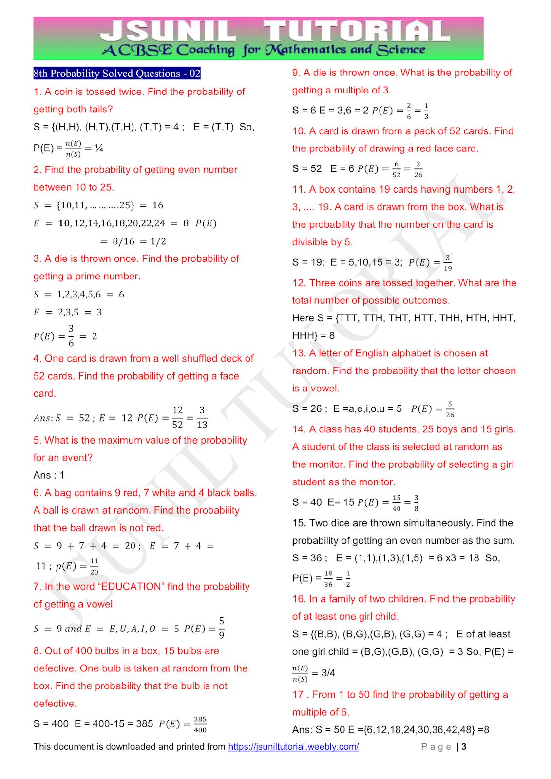 hight resolution of CBSE ADDA: 8th Math Probability CBSE Test Paper