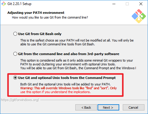 use git optional unix tools from the command prompt