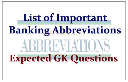 Important Banking Abbreviations