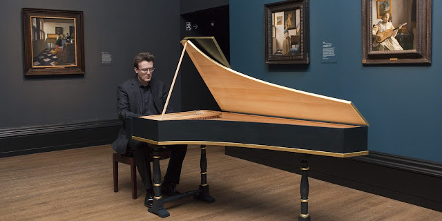 Julian Perkins playing the harpsichord at the National Gallery's Vermeer and Music: The Art of Love and Leisure - 2013