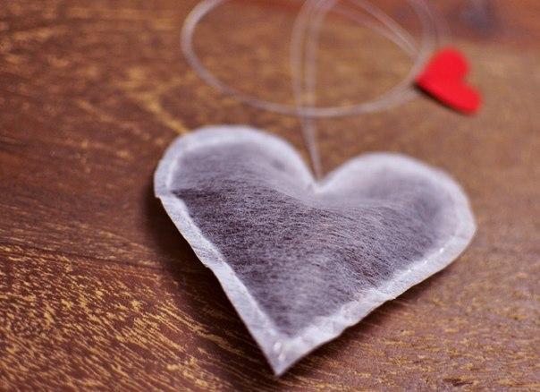 El Yapımı Kalp Şeklinde Poşet Çay