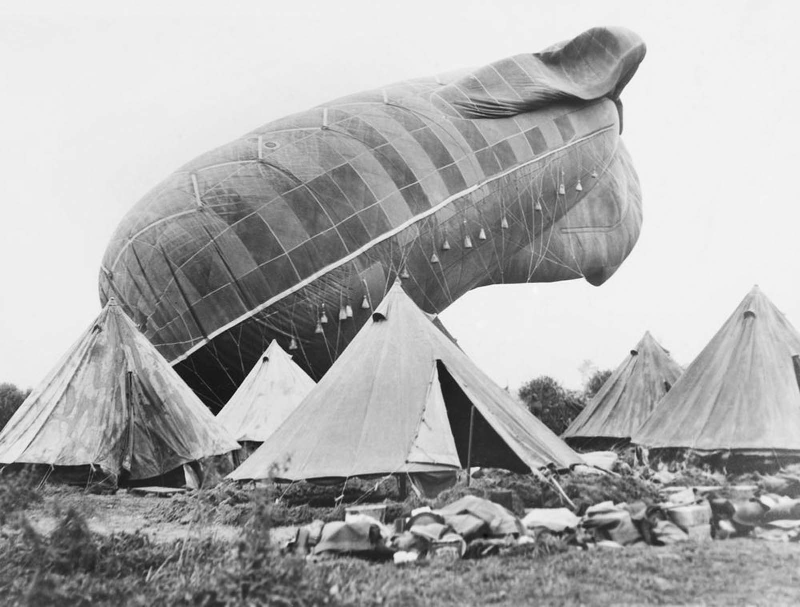 An Australian Royal Flying Corps balloon on the western front in Belgium. 1917.
