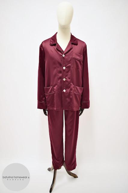 mens dark red silk pajamas burgundy satin pyjamas set big tall size custom made