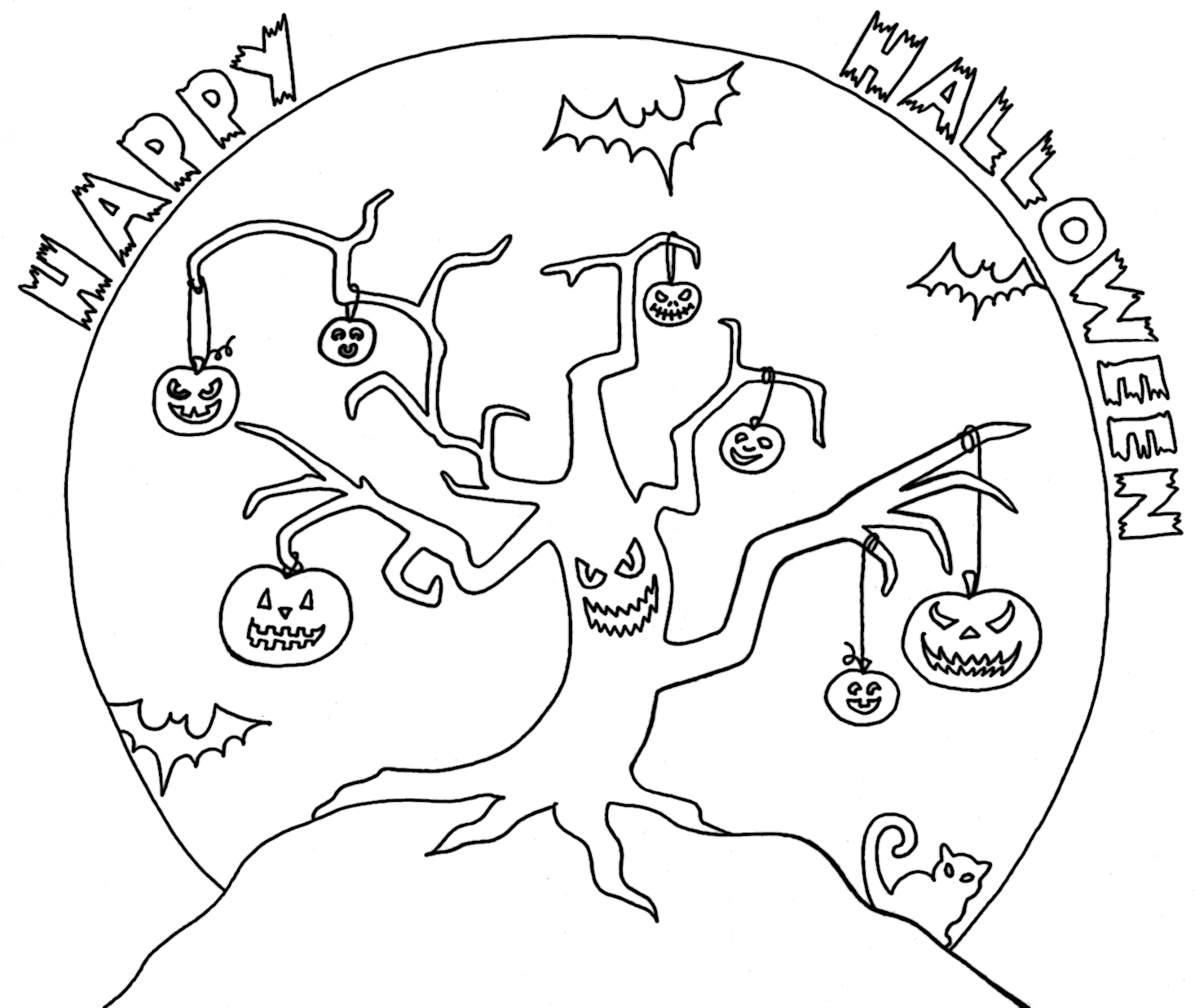 scary trees coloring pages | Yucca Flats, N.M.: Wenchkin's Coloring Pages - Halloween Tree