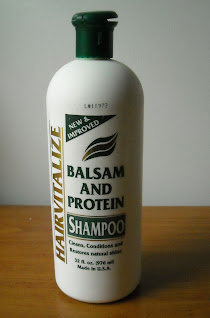 A bottle of Hairvitalize Balsam and Protein Shampoo, from Dollar Tree