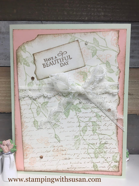 Stampin' Up!, Very Versailles, Path of Petals, www.stampingwithsusan.com, Collage Cards, Shabby Chic,