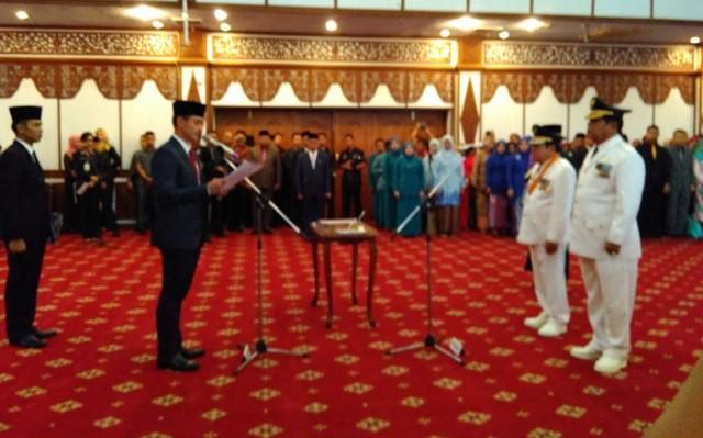 Mashuri dan Burhanuddin Mahir Hadiri Pelantikan AJB-Zulhelmi, Bupati Kerinci Adi Rozal Malah Tak Hadir