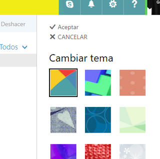 temas en correo outlook 2016