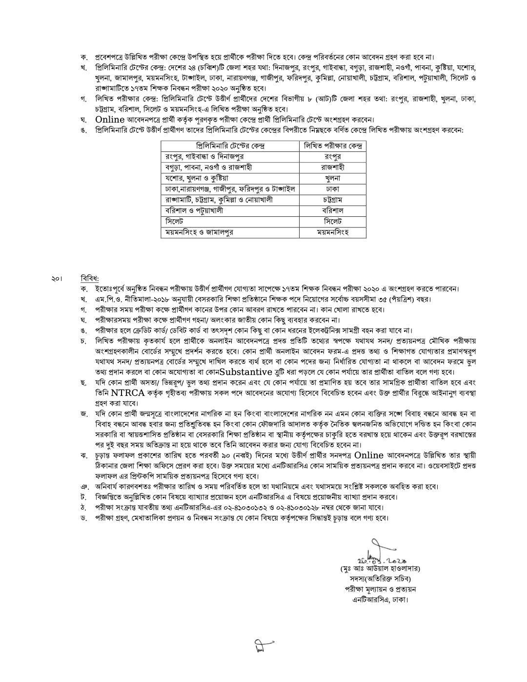 List of Registration Examination Centers