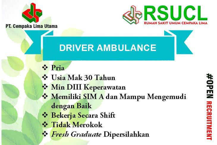 Lowongan Kerja Supir Banda Aceh Driver Ambulance Rsu Cempaka Lima