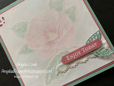 Stampin' Up! Good morning magnolia watercoloured card by Angela Lovel, Angela's PaperArts