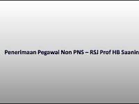 Penerimaan Pegawai Non PNS RSJ Prof HB Saanin - Pendaftaran sd 28 Nov 2018
