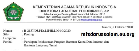 Surat Edaran Persiapan Pelaksanaan Program Bantuan Kuota Data Internet Dan Bantuan Langsung Tunai