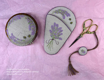 Embroidered Lavender and Bees Scissors Keeper and matchin Pincushion along with scissors and fob