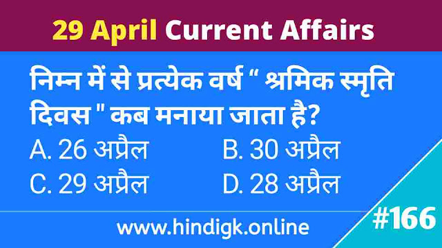 29 April 2021 Current Affairs In Hindi