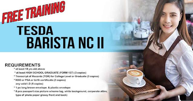 TESDA Barista Free scholarship