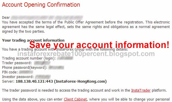 register trading account successful instaforex rebate