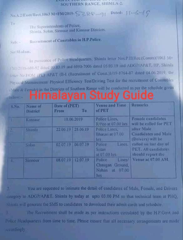 Himalayan Study Guide: HP Police Bharti Shimla, Solan