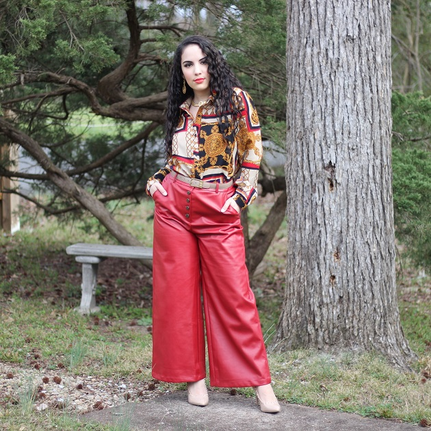 SHEIN Spring Collection: Red Pleather Pants