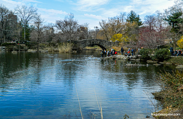 The Pond, lagoa do Central Park, e a Gapstow Bridge, Nova York
