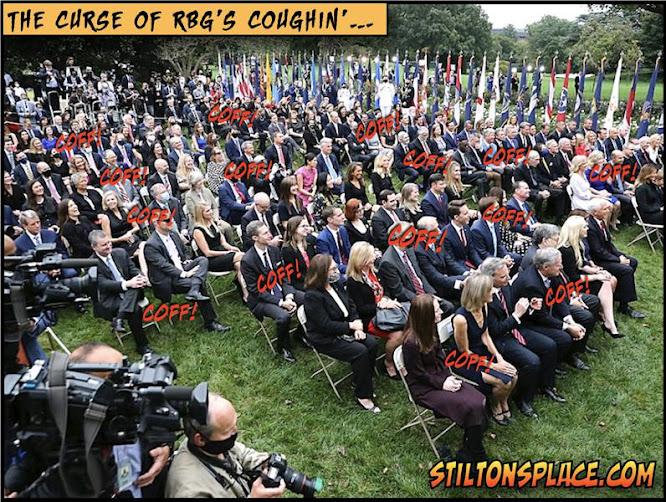 stilton's place, stilton, political, humor, conservative, cartoons, jokes, hope n' change, rose garden, barrett, superspreader, Covid-19, trump, screwed