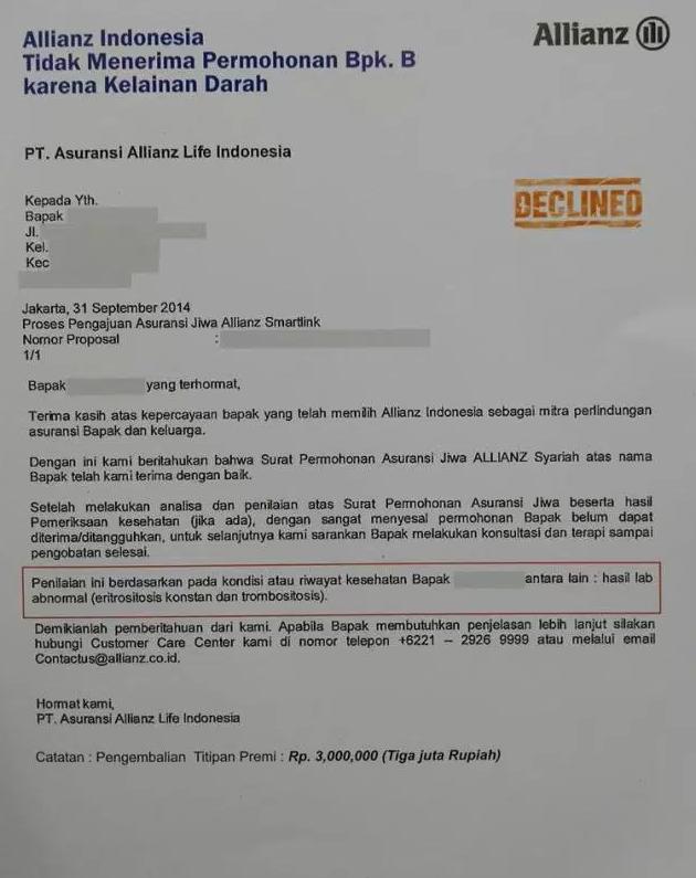 surat penolakan permohonan asuransi allianz sebab ada riwayat kelainan darah