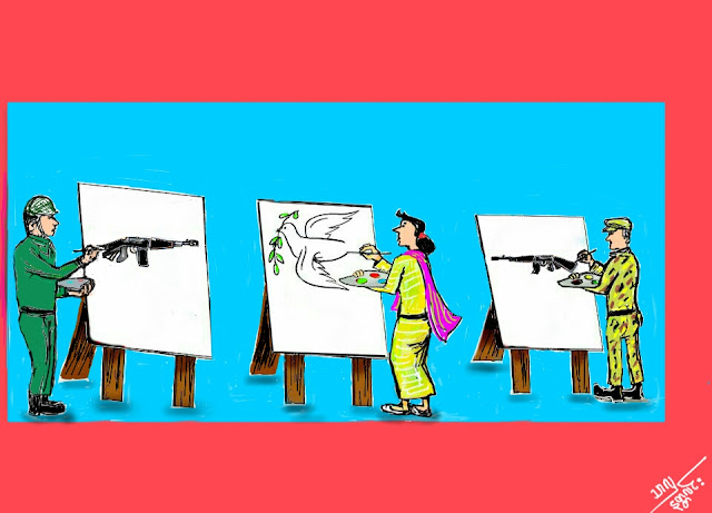 ကာတြန္း သာလွ(နတၱလင္း) – ျငိမ္းခ်မ္းေရး၏ ပုုံတူကားခ်ပ္မ်ား