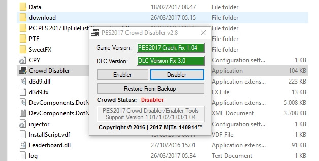 PES 2017 Crowd Disabler V2.8