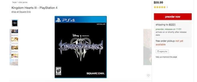 Kingdom Hearts 3 es listado para el 1 de noviembre