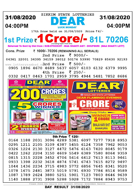 Sikkim State Lottery Sambad 31-08-2020 Today Result 4 PM