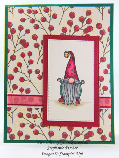 #thecraftythinker #gnomefortheholidays #christmascard #pop&twistfunfold #funfold #cardmaking , Gnome For The Holidays, Poinsettia Place DSP, Christmas Card, Pop & Twist fun fold, Stampin' Up Demonstrator, Stephanie Fischer, Sydney NSW