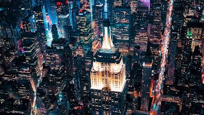 Night city, buildings, aerial view, metropolis, lights, darkness
