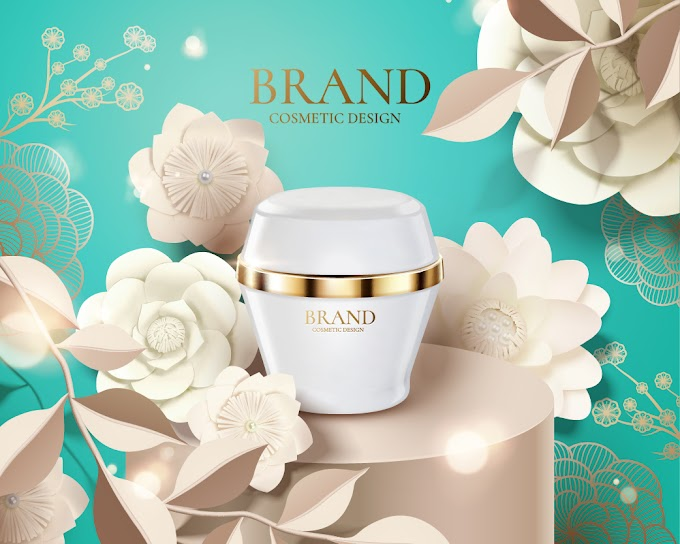 3d illustration cosmetic set ads and flowers background template free vector