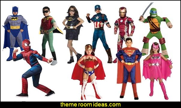 Superhero Halloween Costumes  Superheroes bedroom ideas - batman - spiderman - superman decor - Captain America - comic book bedding - batmobile bed - Wonder Woman Girls superhero - marvel wall art Avengers - superman bedding - primary color bedroom ideas - spiderman room decor - decorating with comics -