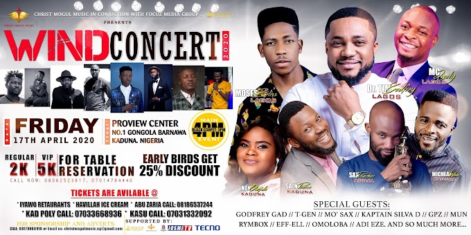 """Tim Godfrey, Moses Bliss & Mc Lively Set to Storm Kaduna This April For """"Wind Concert 2020"""""""