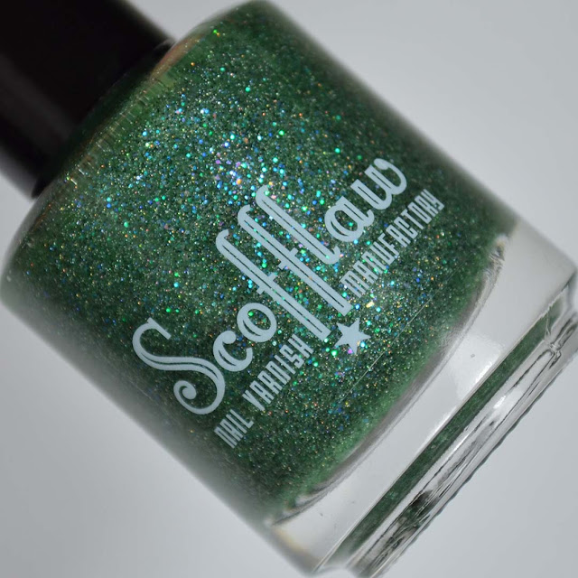 green jelly nail polish with glitter